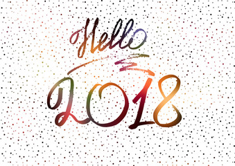 Hello 2018. New Year 2018. New Year's greeting card, cover, banner. New Year's lights. Snow. White Holographic