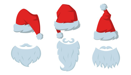 Set of Red hats and beards of Santa Claus on the white background.