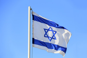 White and blue flag of Israel