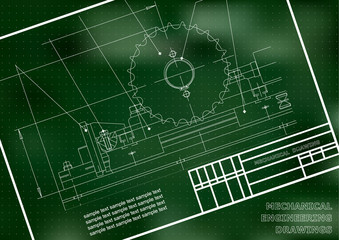 Mechanical drawings on a  white background. Engineering illustration. Frame. Green. Points