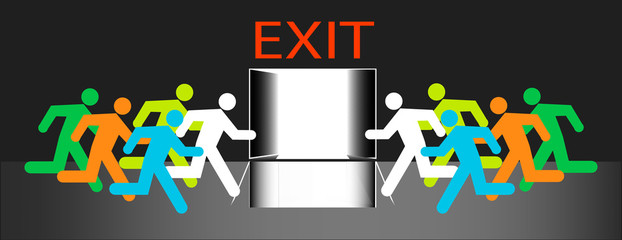 Exit out door many humans group run to emergency evacuation vector isolation.