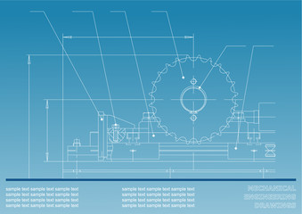 Mechanical drawings on a blue background. Engineering illustration