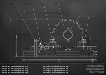 Mechanical drawings. Engineering illustration background. Black