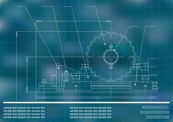 Mechanical drawings. Engineering illustration background. Blue. Grid