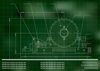 Mechanical drawings. Engineering illustration background. Green. Grid