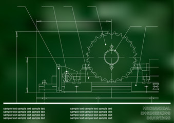 Mechanical drawings. Engineering illustration background. Green