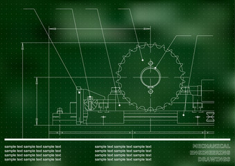 Mechanical drawings. Engineering illustration background. Green. Points