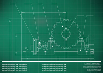 Mechanical drawings. Engineering illustration background. Light green. Grid