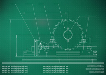 Mechanical drawings. Engineering illustration background. Light green. Points