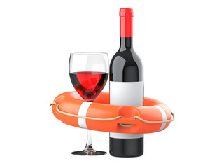 3d render of orange life buoy ring with alcohol wine bottle and wine glass. Signs and symbols of alcohol addiction and the need for help. Isolated on a white background.