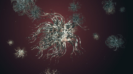 Bacteria virus or germs microorganism cell under microscope with depth 3d illustration