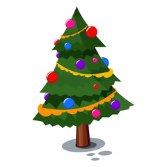 Christmas tree decorated balls and garland. Vector cartoon icon isolated on white background.