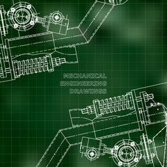 Mechanical engineering the drawing. Technical illustrations. The drawing for technical design. Cover, place for inscriptions. Green. Grid