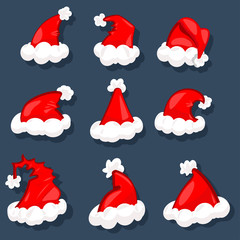 Santa hats vector set. Christmas decoration element. Cartoon illustration, isolated on a dark background.
