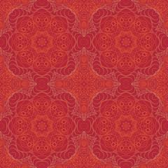 Seamless Mandala. Zentangl. Seamless ornament for creativity. Oriental motifs. Relax, meditation. Flower. Orange