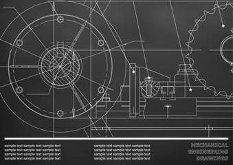 Vector drawing. Mechanical drawings. Engineering  background. Black