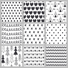 set of seamless pattern black and white in Scandinavian style - vector illustration, eps