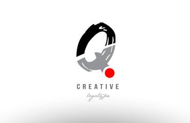 q grunge black grey alphabet letter logo icon design