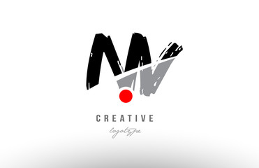 grunge red dot nv n v alphabet letter logo combination design