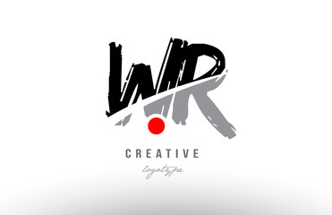 grunge red dot wr w r alphabet letter logo combination design