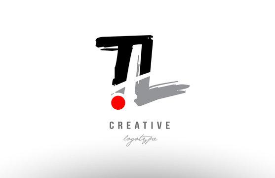 grunge red dot tl t l alphabet letter logo combination design