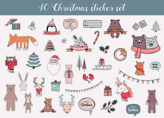 colorful christmas and winter sticker set