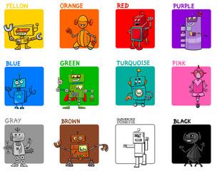 main colors cartoon educational set with robots