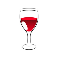 Red wine glass, vector