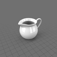 White creamer with handle