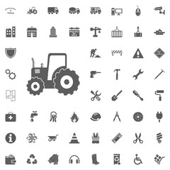 Tractor icon. Construction and Tools vector icons set