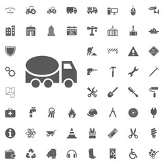 Concrete truck icon. Construction and Tools vector icons set