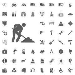 Construction side worker icon. Construction and Tools vector icons set