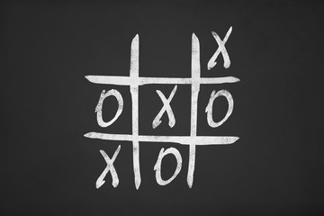 Tic Tac Toe Game Image on Chalk Board