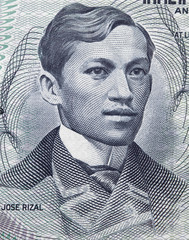 Jose Rizal (1861 –1896) portrait on Philippine 1 piso (1969) banknote closeup macro, national hero of Philippines..