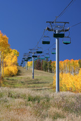Ski lift in Beautiful Fall Color