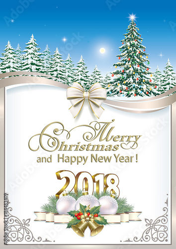 2018 new year background with a decorated christmas tree on a background of fir trees in