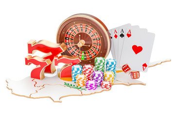 Casino and gambling industry in the Cyprus concept, 3D rendering
