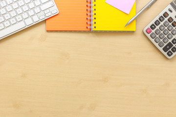 Wooden table top view workplace mockup.