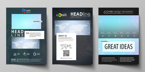 The black colored vector of the editable layout of A4 format covers design templates for brochure, magazine, flyer, booklet. Polygonal texture. Global connections, futuristic geometric concept.