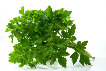 Fresh parsley is isolated on a white background.