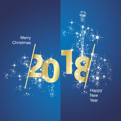 Vector 2018 Happy New Year firework gold blue background