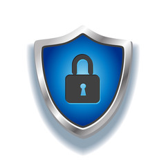 Internet Cyber Security Shield Lock Vector Illustration 1