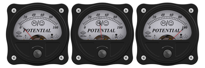 Level of POTENTIAL. Analog indicator showing the level of POTENTIAL in percentages. 3D Illustration. Isolated