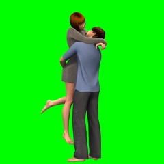 Coppia di innamorati su sfondo chroma key