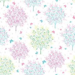 Vector pastel spring blossoming trees and butterflies seamless pattern background. Great for sprintime themed fabric, packaging, giftwrap, gifts projects.