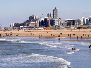 Sandy beach at the north sea in Haga, Netherlands