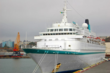 Cruise travel ship in port