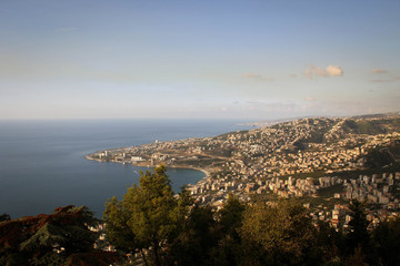 City of Jounieh panoramic view, near Harissa, Lebanon