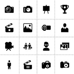 Picture icons. vector collection filled picture icons