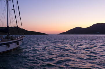 Sunset colors over the harbor of Lipsi island, Dodecanese, Greece